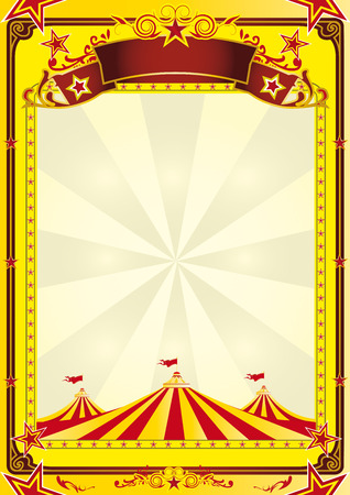 big top: A yellow background with big top for a flyer