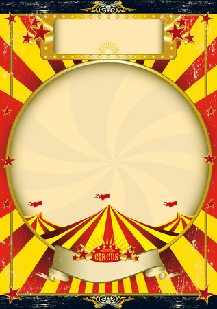 A grunge vintage poster with a circus tent for your advertising Vector