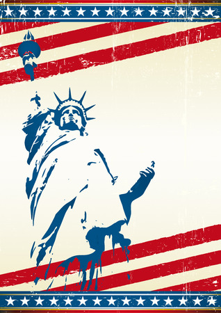 A grunge poster with the statue of liberty. Vector