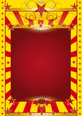 A circus poster with a gold baroque frieze