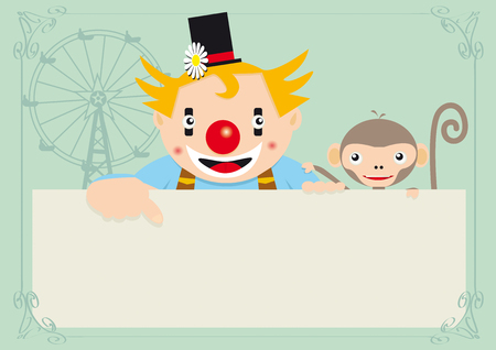 A clown with a monkey on a circus  greeting card, for an invitation. Read your message ! Vector