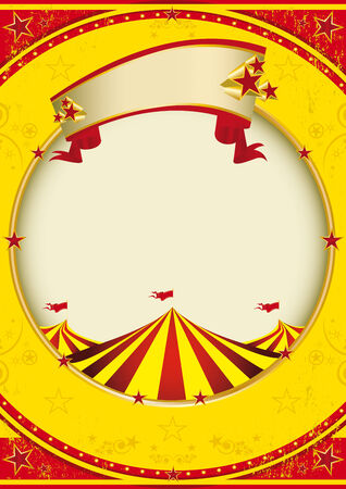 big top: A red and yellow background with a big top for a poster. Illustration