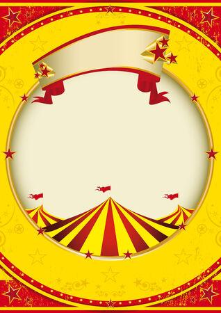 show bill: Un fondo de color rojo y amarillo con una carpa para un p�ster. Vectores