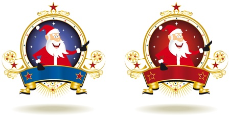 two labels for christmas with Santa Claus. Vector