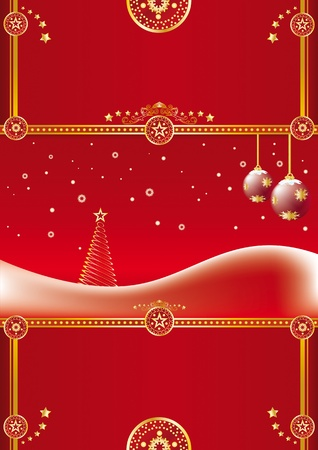A large christmas background for a greeting card.  Illustration