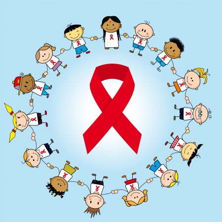 Group of childrens around aids ribbon. Vector
