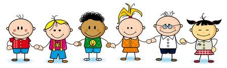 Een groep van kleine kinderen. Vector Illustratie