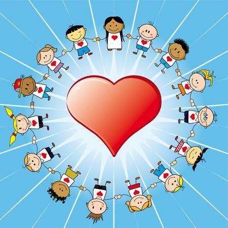 15 bambini intorno a un cuore.