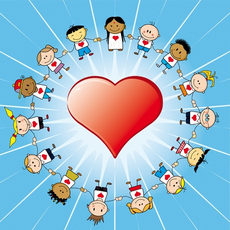 kindness: 15 Children around a heart. Illustration
