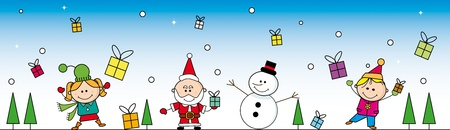 Banner with santa, a Snowman and two children. Vector