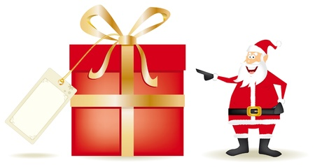 Santa with a big present. Draw of santa claus with a big gift. Vector