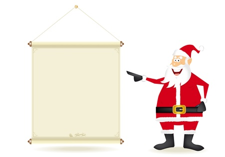 Santa claus with a streamer for your message.  Vector