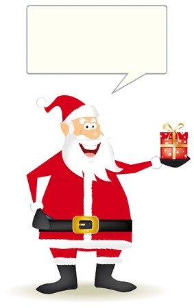 Draw of santa claus with a little gift in the hand. Stock Vector - 11291719
