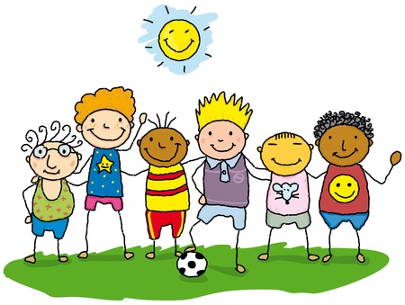 deportes caricatura: dibujo de los ni�os en el c�sped.
