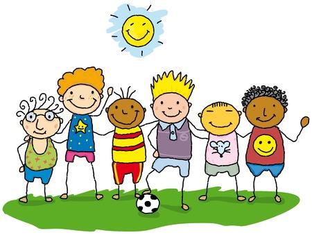 rysunek dzieci w trawie.