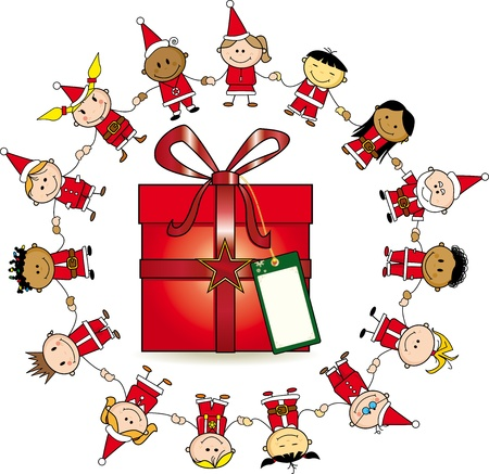 Group of childrens around a gift. Vector