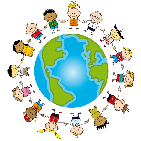 Childrens around the world. Vector