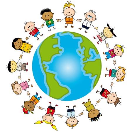children holding hands: Childrens around the world. Illustration