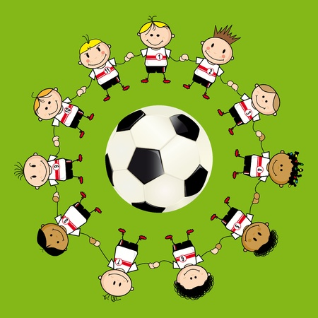 futbol soccer dibujos: once niños cerca de una pelota de fútbol.