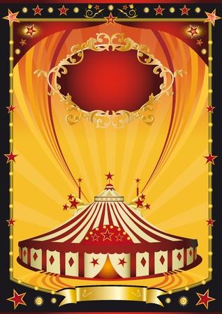Un bel poster con una tenda da circo.