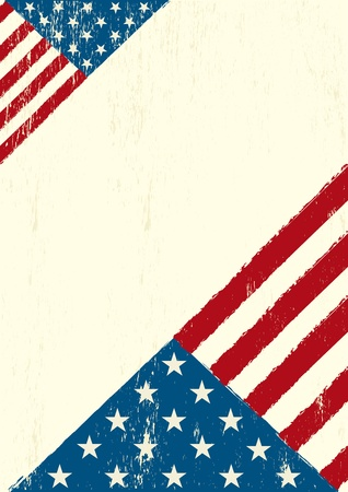 A grunge poster with a US flag for your advertising  Vector