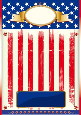 Poster with a flag of US and a texture.  Vector