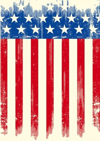 bandera americana: Una bandera del grunge americano de un fondo de un cartel. Vectores