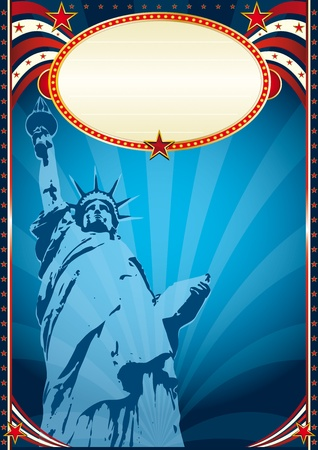Poster with the Statue of liberty Vector