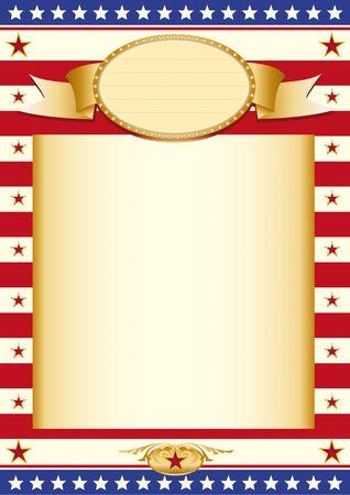 estados unidos bandera: Cartel con la bandera de EE.UU. y un gran marco de color beige