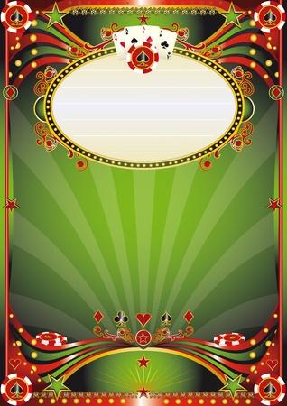gambling chip: Cartel para el tour de poker en un casino Vectores
