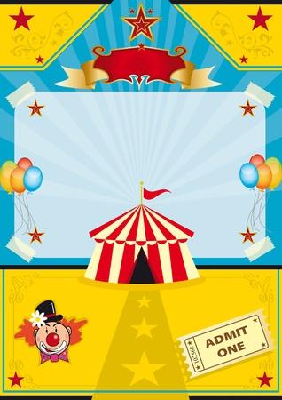 clown cirque: Un chapiteau sur une plage! Nouveau fond d'une affiche. Illustration