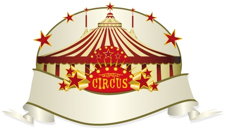 big top tent: A circus ribbon. Write your message in the copy space.