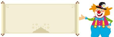serpentinas: Ilustración de un payaso feliz con un signo de color beige con una carpa. Usted puede leer su mensaje. Ilustración específica para los niños y los niños relacionados con las diversiones.