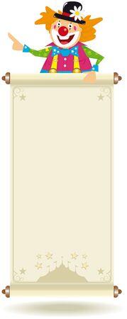 CARNAVAL: Ilustraci�n de un payaso feliz con una se�al de color beige con una carpa. Usted puede leer su mensaje. Ilustraci�n espec�fica para ni�os y entretenimientos relacionados con los ni�os.