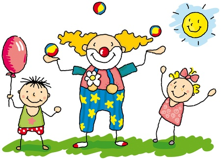 circus artist: A vector illustration of Clowny with two children