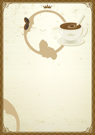 A background with a coffee cup for a menu. Vector