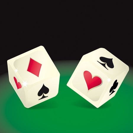 green carpet: two dices with aces symbols on the faces.