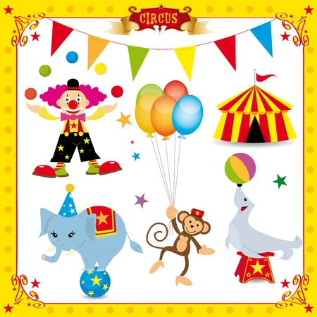 circus elephant: A fun circus set. Each element is on a different layer. Very easy to choose, for exemple the clown or the big top.... Illustration