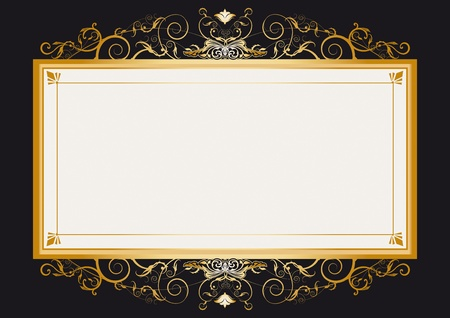 gold frame: A frame with a large space for your message