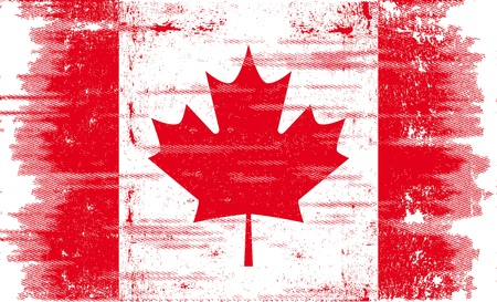 A canadian flag with a texture.  Vector