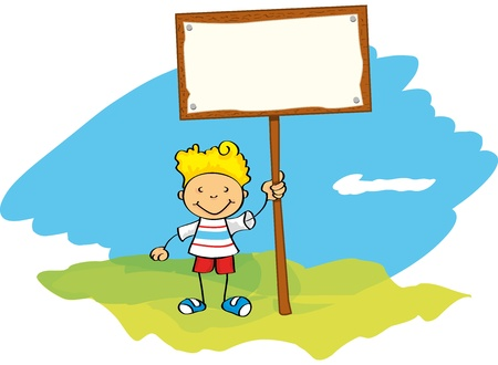 A little boy with a poster. Write your message on the sheet of paper. Stock Vector - 11410248
