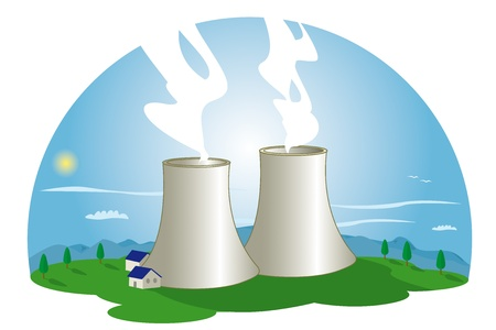 nuclear energy: A nuclear power station in nature  Illustration