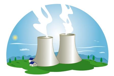 Una estación de energía nuclear en la naturaleza