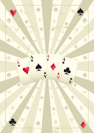 An old poker background whith for aces for you. Vector