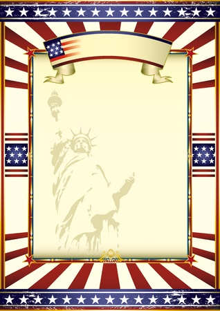 An american poster whith the statue of Liberty. Vector