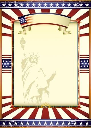 american poster: Un cartel americano whith de la estatua de la Libertad. Vectores