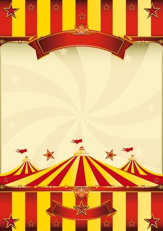 CARNAVAL: Un cartel rojo y amarillo, un poco con una carpa para su publicidad.