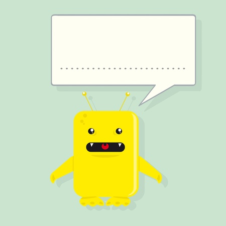 alien face: A yellow monster is speaking. Illustration