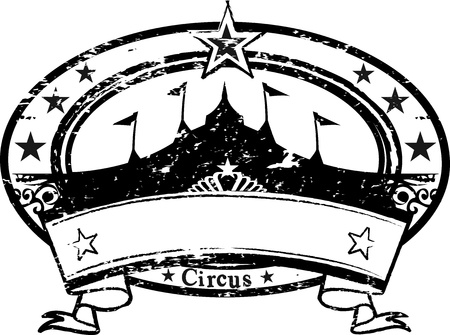 rubber stamp: A black and white stamp on circus theme with a ribbon.