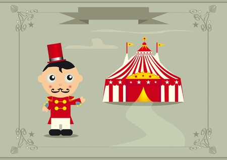 ringmaster: A ringmaster in front of a big top.
